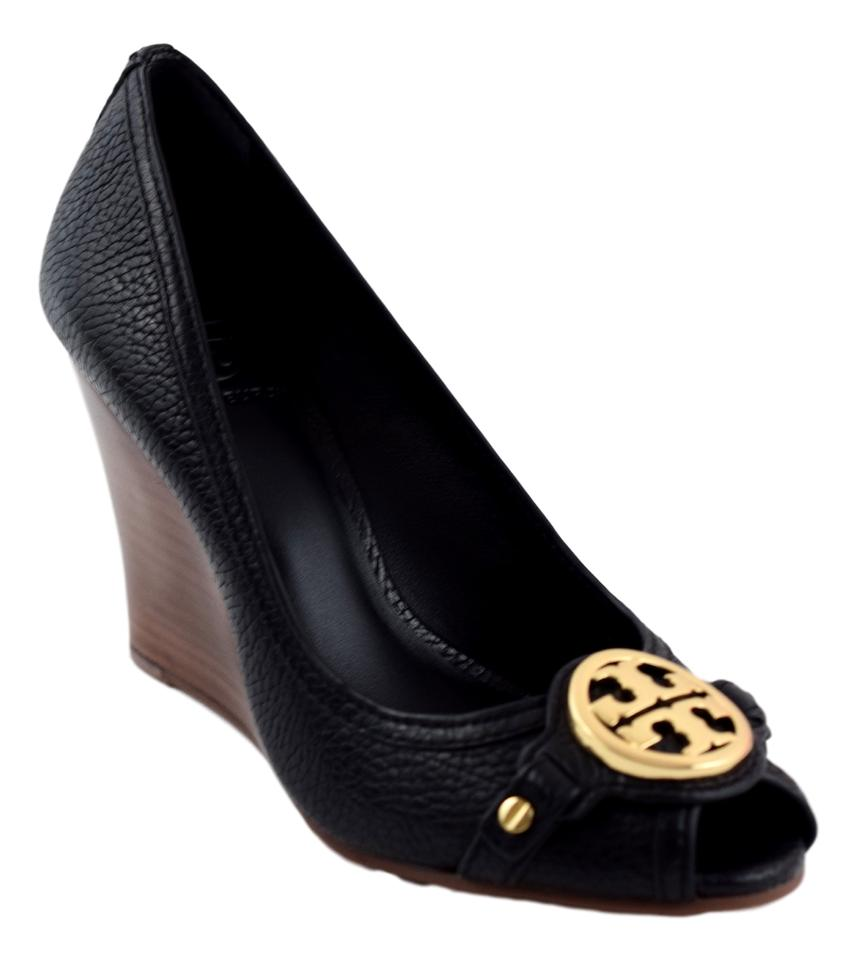4729ea7f795 Tory Burch Leticia Leather Black Wedges Image 11. 123456789101112