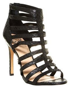 Vince Camuto Caged Sandals Heels Open Toe Black Pumps