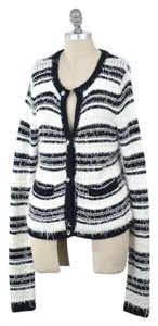Alice + Olivia Soft Boucle Yarn Striped Cardigan