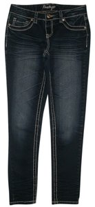 Amethyst Jeans 5 Pocket Style Zip Fly Low Rise Sabrina Skinny Jeans-Dark Rinse