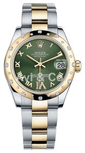 Rolex Rolex DateJust 31 Steel & Yellow Gold Domed Diamond Bezel Watch Olive Dial 178273