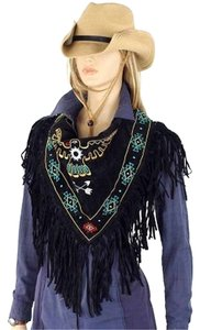 Black Suede Native Beaded Design Scarf Wrap Free Shipping