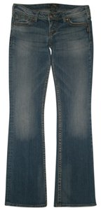 Silver Jeans Co. Back Flap Pockets Zip Fly Low Rise Cotton/spandex Pioneer Boot Cut Jeans-Medium Wash