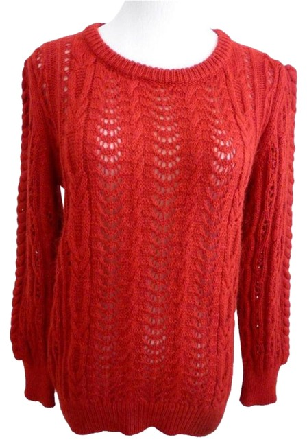 Preload https://item4.tradesy.com/images/maje-red-acrylic-mohair-open-knit-long-sleeve-crew-neck-sweaterpullover-size-4-s-1475623-0-1.jpg?width=400&height=650