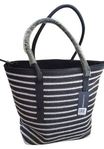 Rampage Beach Straw Tote in Black and White