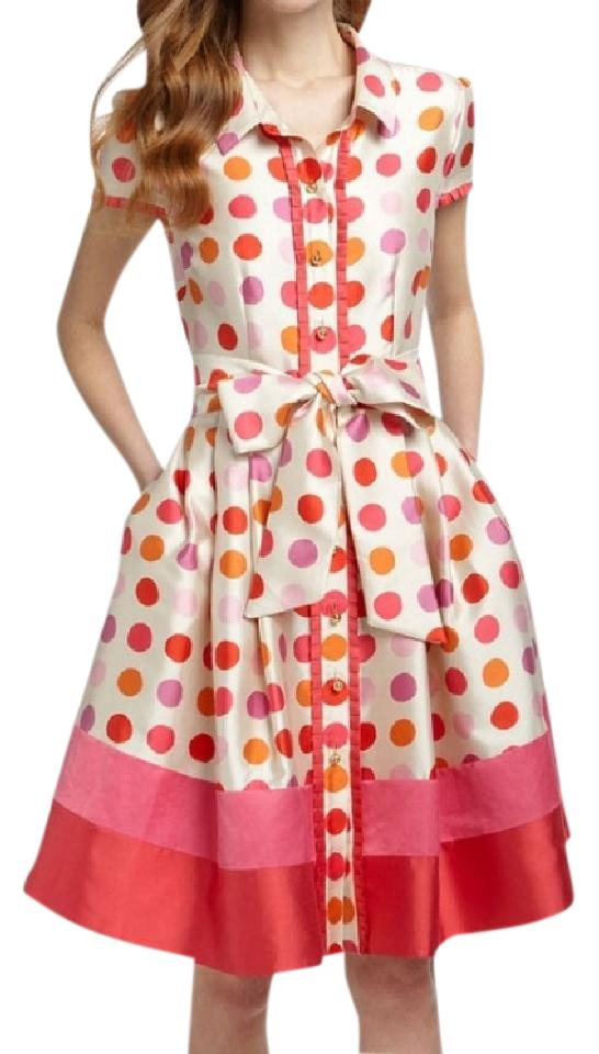 Kate Spade Pink Red Orange Tutti Frutti Calista Fit And Flare Knee Length Night Out Dress Size 0 Xs Tradesy