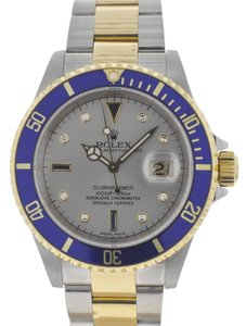 Rolex Rolex 16613 Submariner Two Tone 18k Yellow Gold & SS Serti Dial Watch