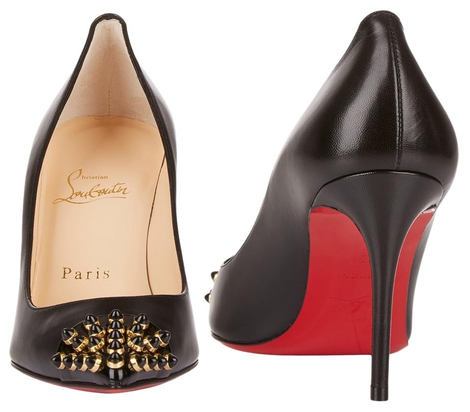 d966197620dc Christian Louboutin Black Cabo Leather 85 Black Black Gold Studs   38 Pumps