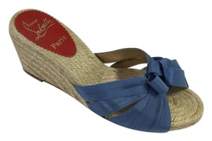 Christian Louboutin Spring Summer Bow Satin Espadrille Blue Wedges