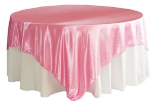 Lot Of 25 Pink Satin Overlays New Cake Tablecloth Tablecloth Wedding Anniversary Event Decor Party