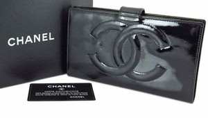 Chanel France Black Patent Leather CC Logo Bifold Long Wallet Coin Purse