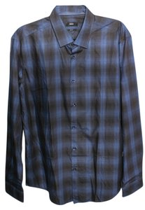 Hugo Boss Dark Cotton Button Down Shirt Blue