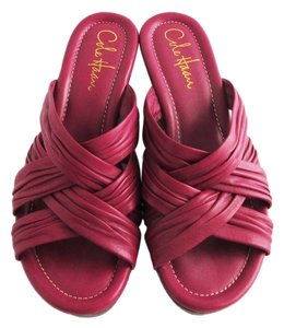 Cole Haan Wedge Slides Leather Strappy Magenta Sandals