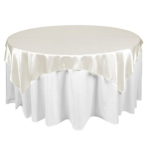 Ivory Satin Overlay New Cake Anniversary Event Decor Party Tablecloth