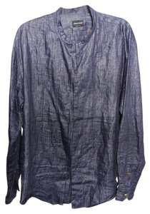 Giorgio Armani Dress Shirt Snap Buttons Mens Button Down Shirt Denim
