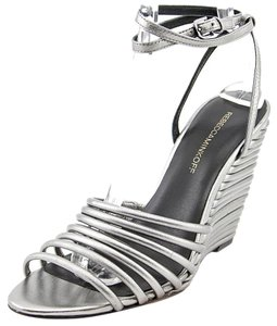 Rebecca Minkoff Sandals Open Toe Silver Gunmetal Wedges