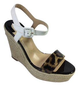 Christian Louboutin Sandal Luxury Exclusive White/Leopard Print Wedges