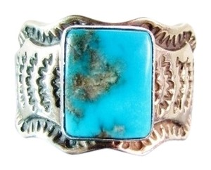Unisex Native American Navajo Artist Sunshine Reeves Morenci Turquoise Sterling Ring size 9.5