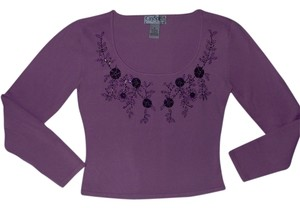 CitySpirit Collection Beaded Dipping Neck Line Sweater