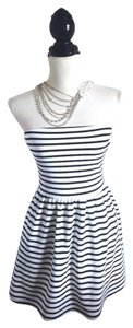 Honey Punch short dress black & white Strapless Striped on Tradesy