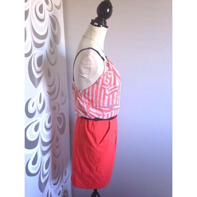 Mary L Couture Openback Backless Striped Pencil Orange Evening Date Party Dress