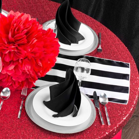 Black and White 23 Table Runners Tablecloth Image 1