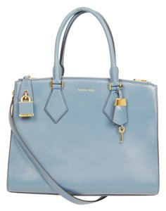Michael Kors Leather Mk Satchel in Cornflower Blue