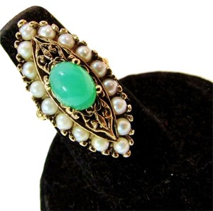 Other Antique Edwardian Pearl & Jade Cab Navette 10k Yellow Gold Ring - Jadeite Filigree Antique Gold Ring Size 4.25