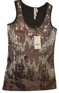 Cristinalove Sequined Top Black, Grey Sliver, Copper
