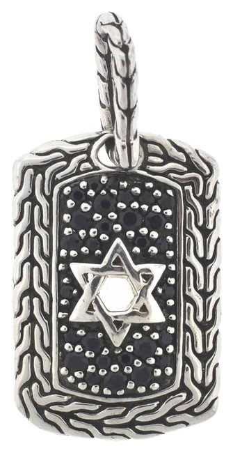 Item - Silver Sterling Lavafire Star Of David Dog Tag Pendant Charm
