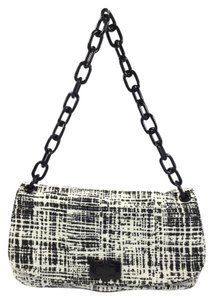 Prada Tela Tweed Leather Satchel in Black/White