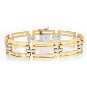 Avital & Co Jewelry 15.9mm 14k Two Tone Gold Sleeve Toggle Link Bracelet