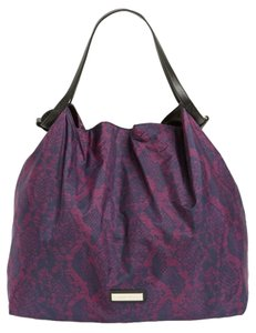 Jimmy Choo Nylon Collapsible Designer Tote in Violet Blue PYTHON PRINT