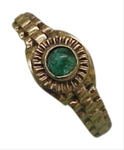 Estate Art Deco 14k Yellow Gold Rolex Style Emerald Ring, 1950's