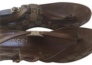 Gucci Brown and Beige Sandals