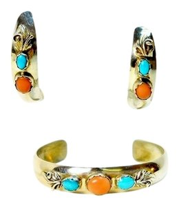 Carolyn Pollack Vintage Carolyn Pollack Coral & Turquoise Cuff Bracelet and Earring Set In Sterling Silver
