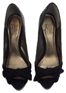 Pelle Moda Peep Toe Platform Black Pumps