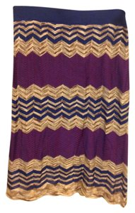 Ann Taylor LOFT Skirt Purple, dark blue, and brown/tan