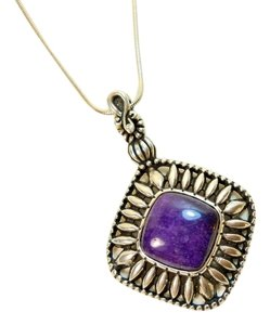 Carolyn Pollack Sterling Relios Carolyn Pollack Purple Charoite Gemstone Pendant & Snake Chain Necklace
