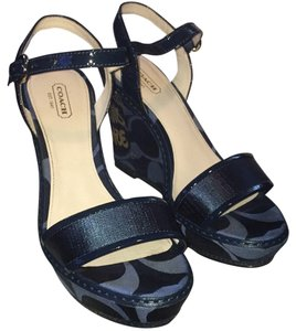 Coach Navy Patent Wedges