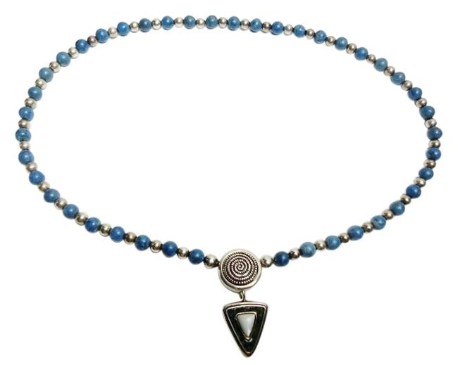 Item - Sterling Silver Rare Relios Interchangeable Mother Of Pearl Pendant & Lapis Bead Southwestern Necklace
