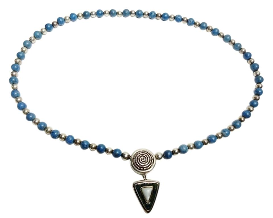 Carolyn pollack sterling silver rare relios interchangeable mother carolyn pollack rare carolyn pollack relios interchangeable mother of pearl pendant lapis bead southwestern necklace aloadofball Gallery