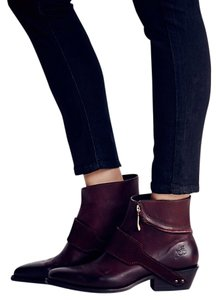 Free People Wine Leather Ankle/zip Western Red/Wine Boots