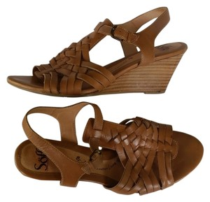 Eürosoft by Söfft Sandals Leather Heels Tan Wedges