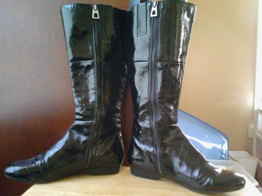 Enzo Angoilini black patent leather Boots