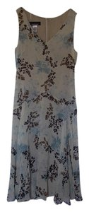 Taupe with blue, brown and black mix Maxi Dress by Jones New York Silk Knee Length