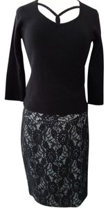 The Limited Pencil Side Zipper Skirt Black Lace/Gray Underlay