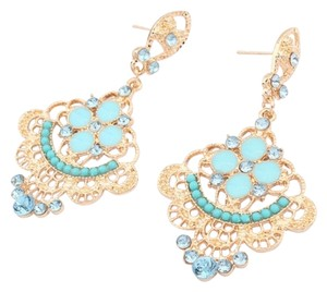 Trendy, Big, Turquoise and Gold Peacock Dangling, Stud Earrings with Crystal Accents