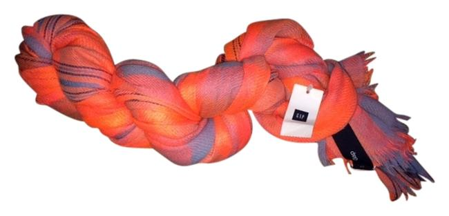 Item - Coral and Gray Cotton Gauzy Type Material. Color. Scarf/Wrap