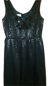 Donna Morgan Beaded Sleeveless Evening Textured Applique Dress